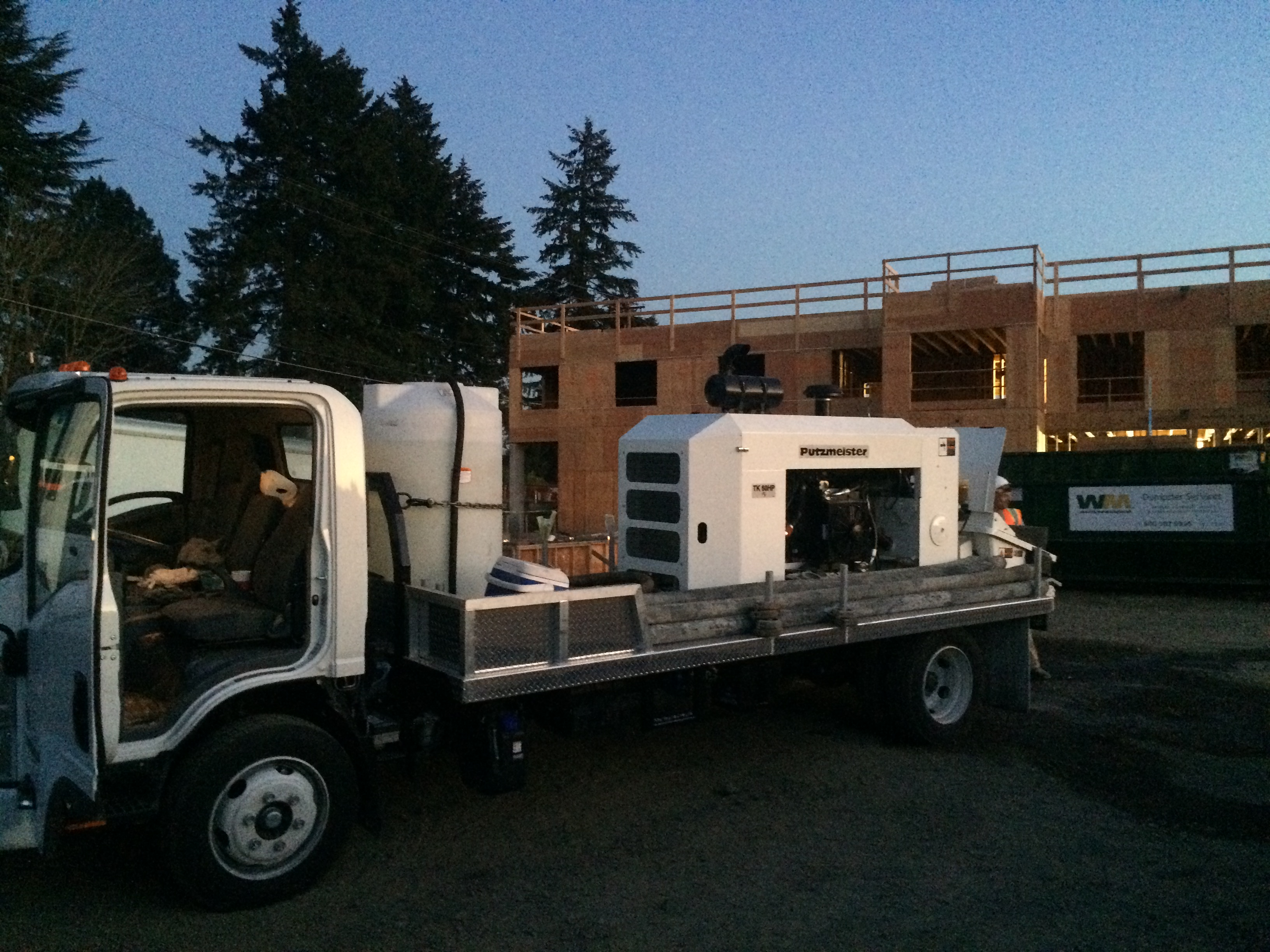Nighttime Shotcrete Work in Milwaukie, Oregon for a new Commercial Pool