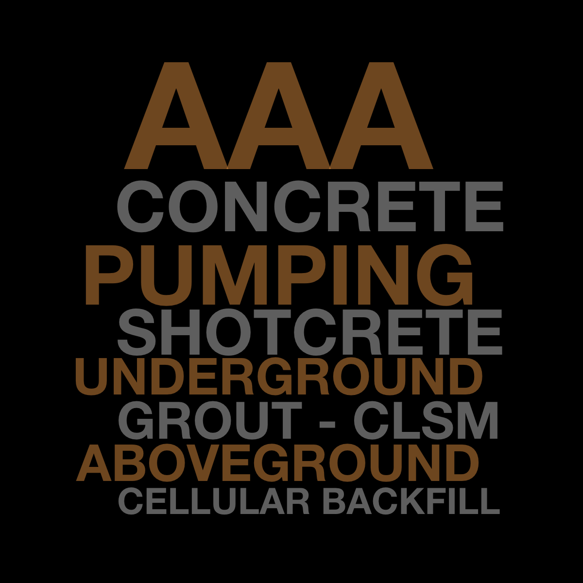 AAA Concrete Pumping Shotcrete Underground Grout CLSM Above Ground Cellular Backfill